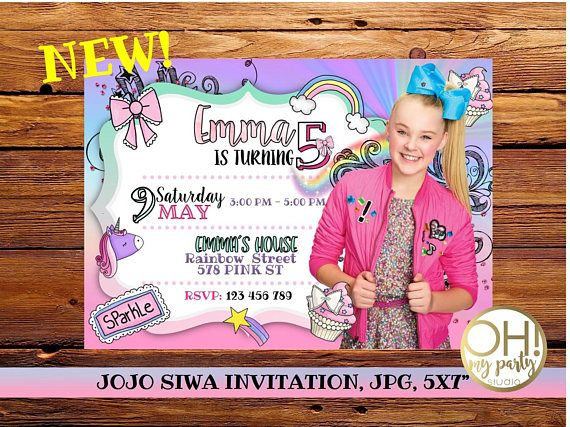 JOJO SIWA birthday invitation jojo siwa party jojo siwa. OMG this is a NEW one I'm SO getting this