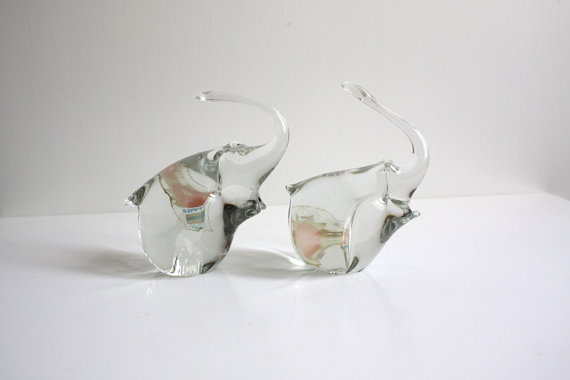 Pair of Glass Elephants by Humppila Finland 1970s  #glass #elephant #humppila #finnish #finland #crystal