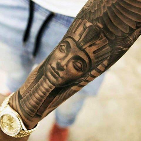 Full Sleeve Egyptian Pyramid Male Tattoo