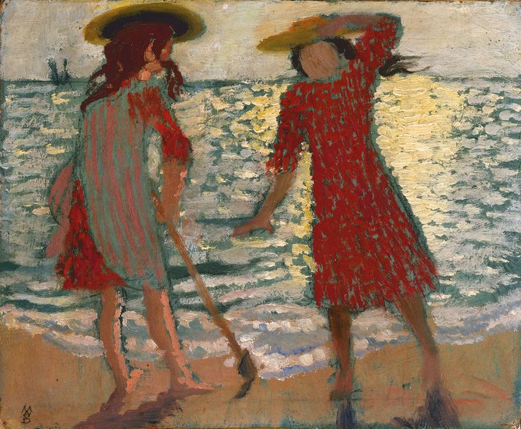 Sur la Plage (Fillettes à Contre-Jour) - (1892), oil on board mounted on panel by Maurice Denis (1870-1943) French (lawrenceleemagnuson)
