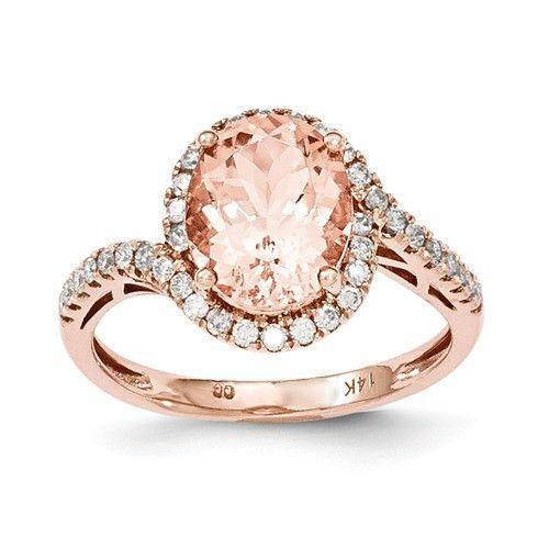14k Rose Gold Morganite & Diamond Ring – Sparkle & Jade