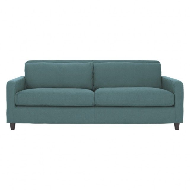 CHESTER Teal blue fabric 3 seater sofa, dark stained feet
