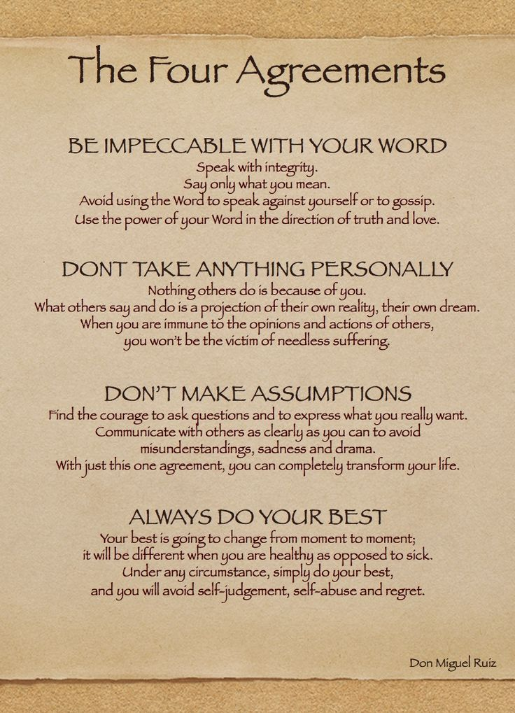 ~The Four Agreements~ My favorite book #selfreminders ~Spritual Health~