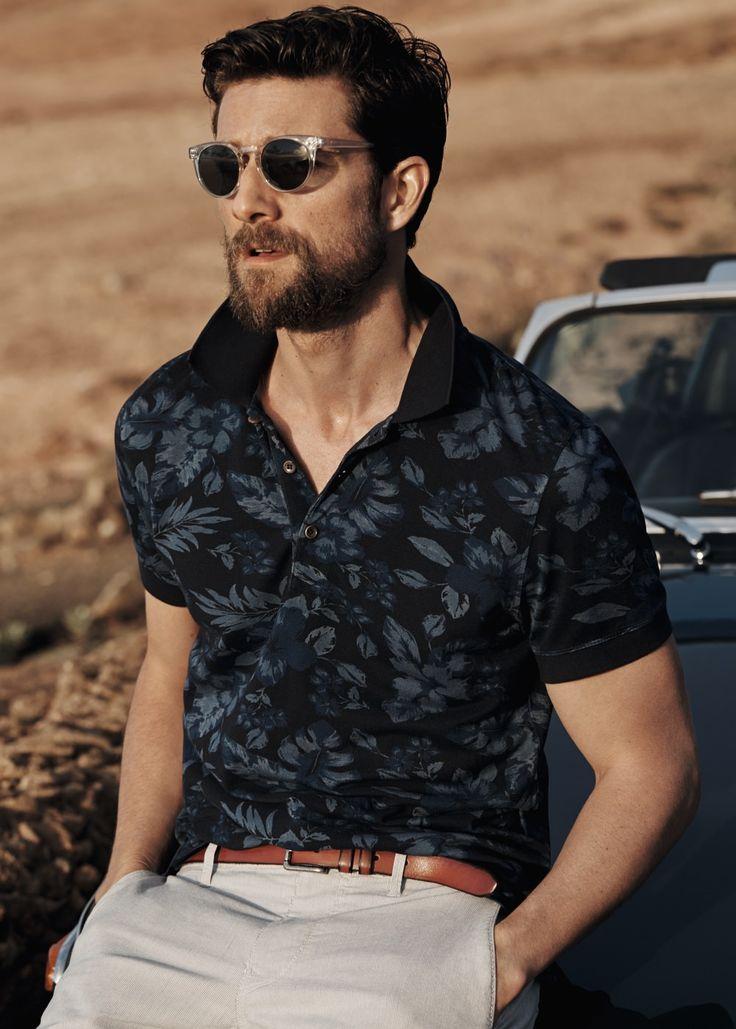 Tropical print piqué polo shirt