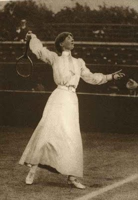 Lawn Tennis 1907 - anything can be done in a dress!