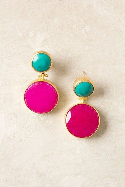 nice colors: Colors Combos, Drop Earrings, Style, Pink Earrings, Turquoise Earrings, Cute Earrings, Jewelry, Accessories, Blue Earrings