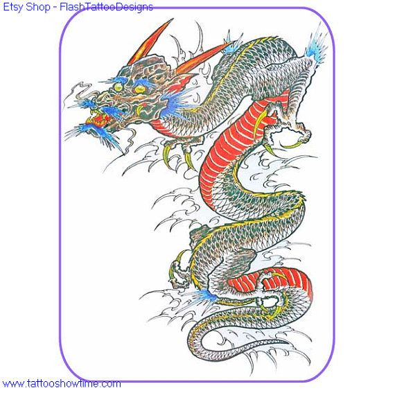 Dragon Tattoo Flash Design 10 For You On Etsy. Top Quality