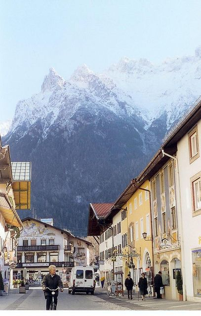 Mt. Karwendl looming over the city of Mittenwald, Germany