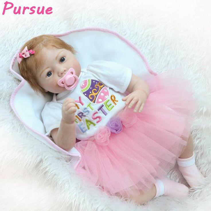 (114.05$)  Buy here  - Pursue 55cm Hand Root Hair Doll Baby Real Silicone Reborn Baby Dolls for Sale bonecas reborn de silicone realista menina 55cm