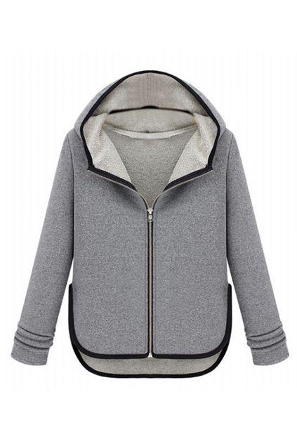 Color Block Light-grey Hooded Coat