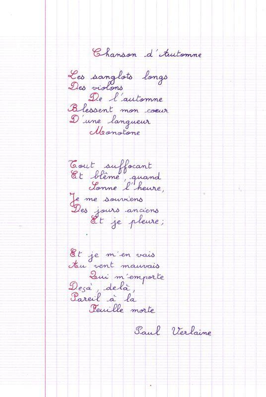 poème de Verlaine : chanson d'automne... les sanglots longs des violons de l'automne...