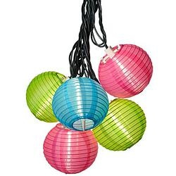 Blue, Pink and Green Lantern String Party Lights for your outdoor living decor. Perfect for patio and poolside decor.  Live life beautifully! Purchase from paradisewaterfountains.com today.