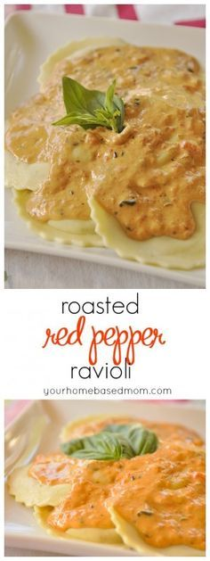 Roasted Red Pepper Ravioli - a delicious and flavor filled main dish.  Roasting peppers is easier than you think.