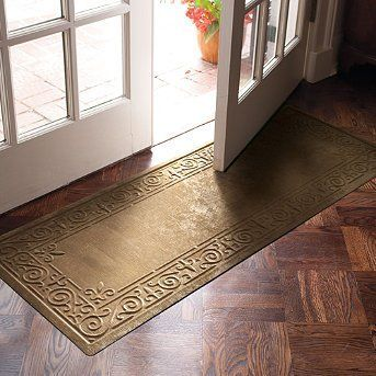 "Patina Low-profile Entry Mat - Bitter Brown, 23"" x 36"" - Frontgate by Frontgate. $39.95. Low-profile design won't obstruct doors. Made of 20% recycled content. Spray clean with hose and air dry. Safe for use on hardwood floors. Heavy-duty rubber backing prevents skidding. Low-profile design won't obstruct doors. Made of 20% recycled content. Heavy-duty rubber backing prevents skidding. Safe for use on hardwood floors. Spray clean with hose and air dry. A sleek profile ..."