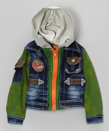 Take a look at this Green & Blue Denim Zip-Up Hoodie - Toddler & Boys by Rock'n Style on #zulily today!