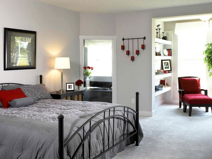 Romantic Bedroom Design With Grey Bed And Red Chairs Also Red Candle And  Fascinating Red Rose
