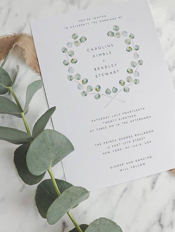 Wedding Invitation Template Green Wreath Eucalyptus Wedding