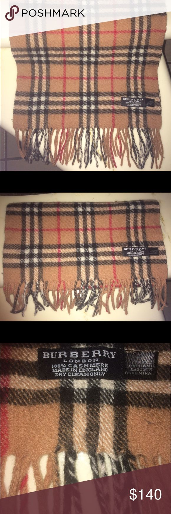 Authentic Burberry Plaid Tan Nova Check Scarf Authentic Burberry London Plaid Tan Nova Check Scarf in like new condition. No damage or signs of wear. It is a stylish and iconic scarf. It is 60 inches long & 24 inches wide. Made in England. 100% Cashmere. Burberry Accessories Scarves & Wraps