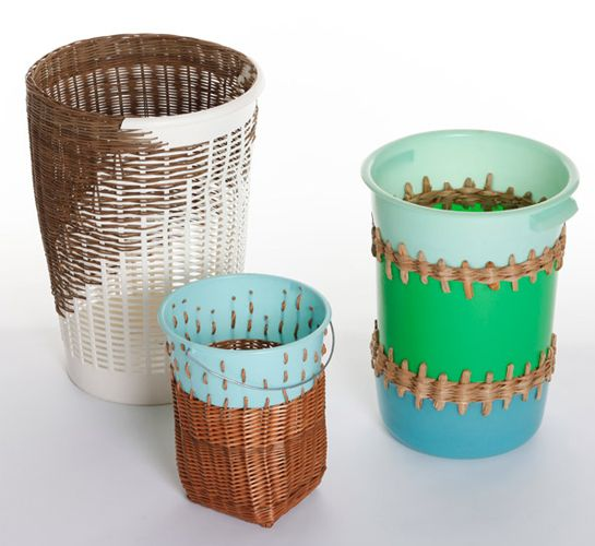 German designer Cordula Kehrer.  These curious structures are Bow Bins – old and damaged plastic bins, buckets and bowls that are mended with sustainably harvested wicker, willlow, rattan and weed using a traditional weaving technique by local German basket makers.