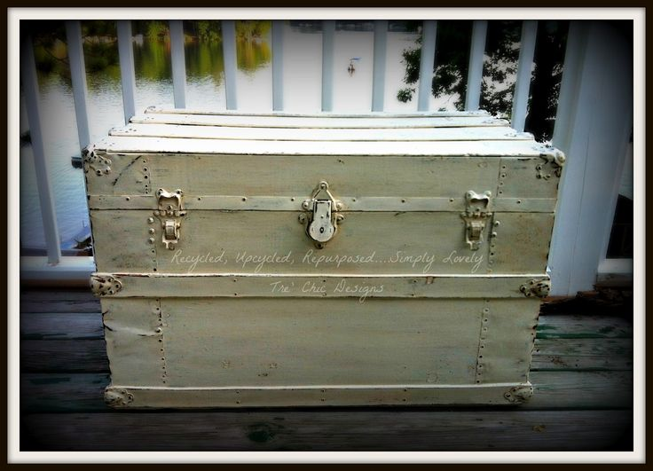 Recycled, Upcycled, Repurposed ....Simply Lovely Tre' Chic Designs: Vintage Shabby Chic Steamer Trunk