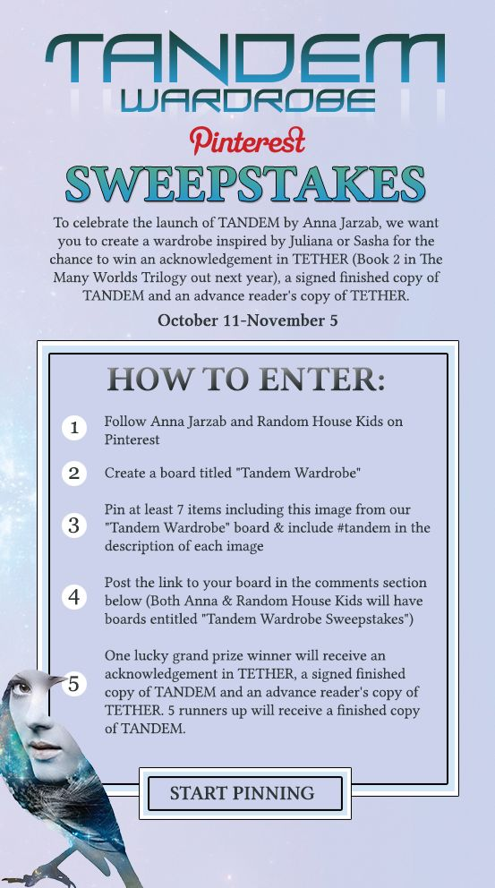 RHCB is partnering with Anna Jarzab on this AWESOME sweepstakes to win a signed copy of TANDEM and a mention in TETHERED, the second book in the series! Click to learn more.
