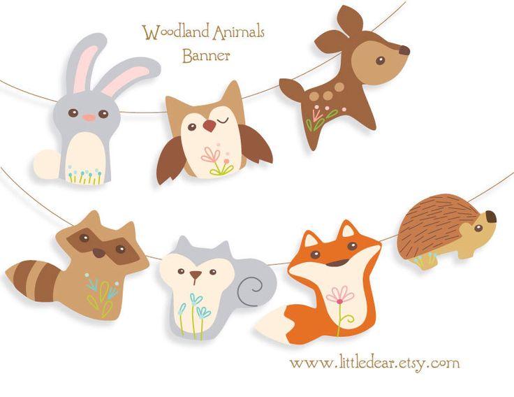 Printable Woodland Animals Banner PDF by littledear on Etsy https://www.etsy.com/listing/162974176/printable-woodland-animals-banner-pdf