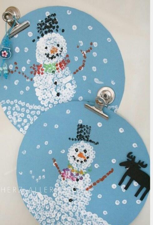 Q-tip painting | Winter/Snowmen | Pinterest | As ...