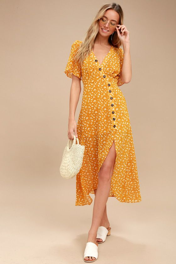 Lulus Exclusive! The After-Bloom Delight Golden Yellow Floral Print Midi Dress was made for mid-day strolls in the park! Woven fabric, in a bright and cheery golden yellow and white floral print, shapes a lightly pleated, surplice bodice framed by fluttering short sleeves. Brown buttons travel from the neckline, all the way down the midi skirt with an overlapping, high-low hem. Hidden back zipper/clasp.