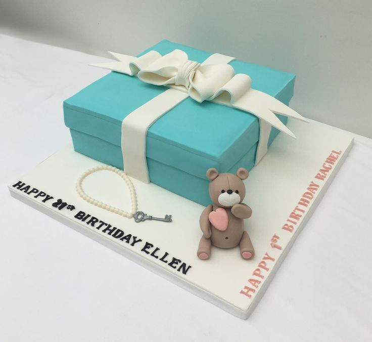 Tiffany Box Cake.  Joint 21st and 1st birthday with sugar ribbon and Teddy Bear.The Cake Lab Bakery, Ranelagh, Dublin, Ireland. Artisan Baking Studio.