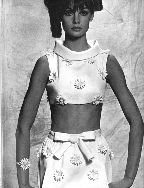 Jean Shrimpton for Vogue By David Bailey 1965. Jean was the first supermodel. Daisies were very popular then.
