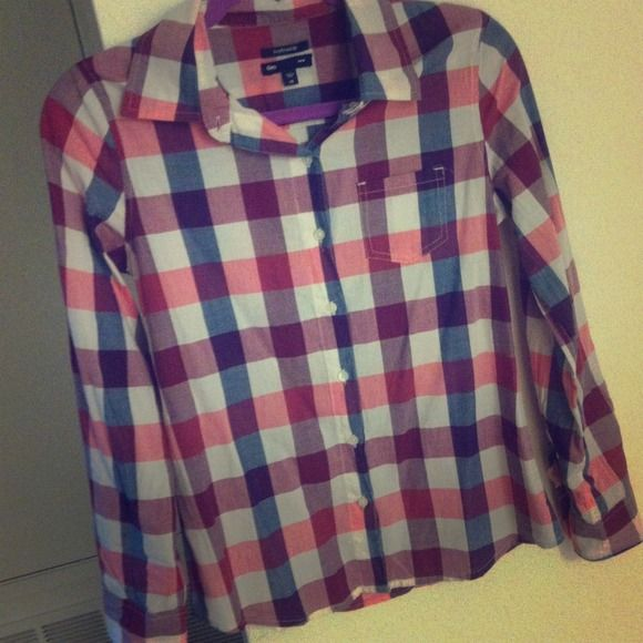 Red, White & Blue Gingham Shirt Button up cotton shirt with red white and blue gingham print. GAP Tops
