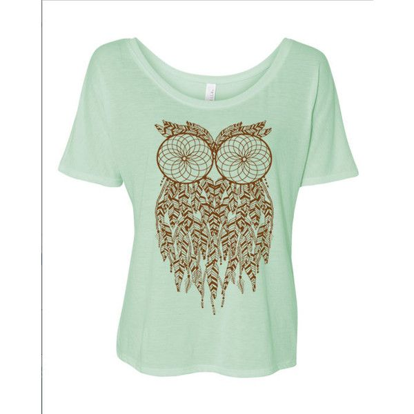 Boho Gypsy Owl Dreamcatcher Brown Ink Slouchy Oversized Relaxed Short... ($22) ❤ liked on Polyvore featuring tops, t-shirts, silver, women's clothing, owl t shirt, gypsy shirt, relax t shirt, brown shirt en oversized shirt