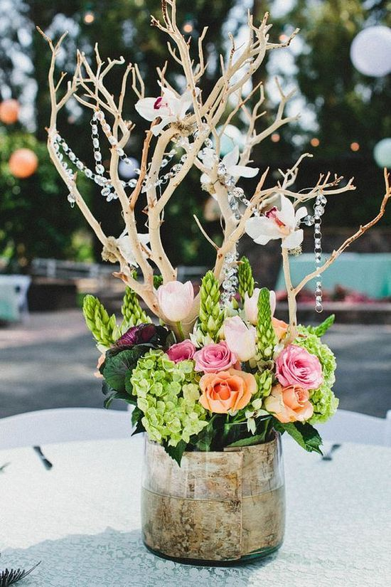 Rustic Chic Wedding at Walnut Grove Would be cute with deer antler incorporated instead of branches / http://www.himisspuff.com/rustic-wedding-centerpiece-ideas/8/