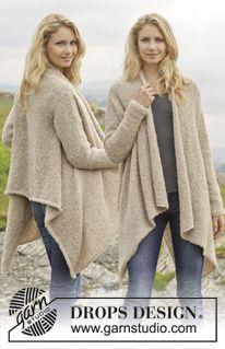 """Gebreid DROPS vest van """"Alpaca Bouclé."""" Maat: S - XXXL. ~ DROPS Design  Misschien proberen met Firenze"""