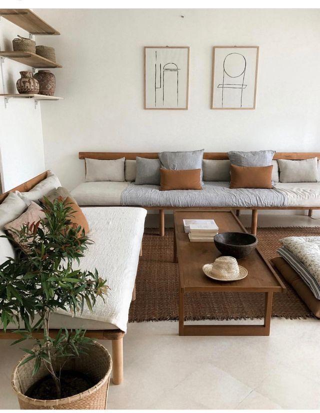 home decor, minimalism, living room, wood, sofas ...