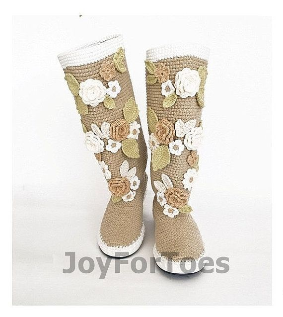 Crochet Boots for the Street Folk Tribal Boots Boho Boots Made to Order Pavlov Posad Beige Russia