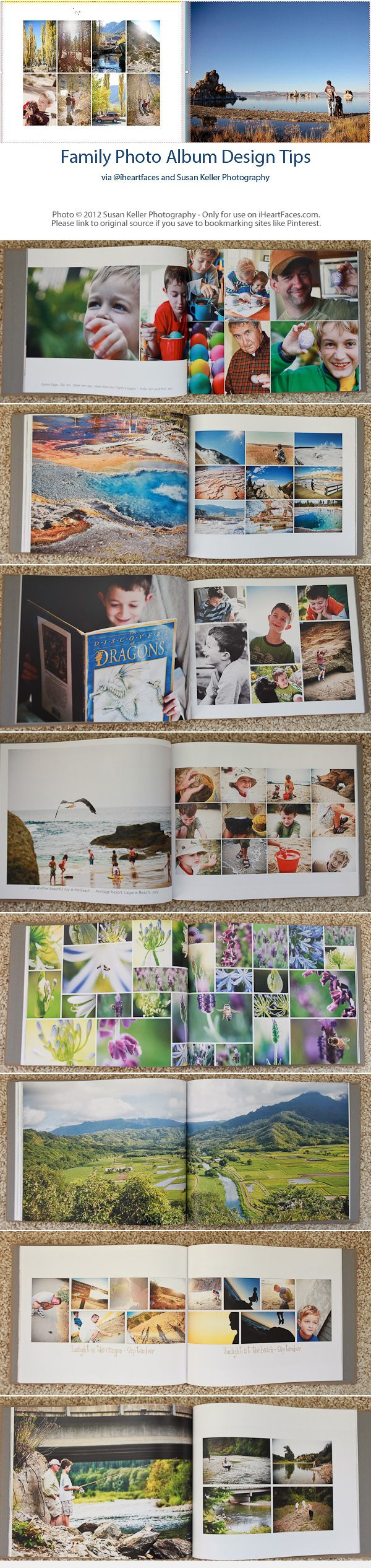 Design a family photo album with these great tips from Susan Keller. Free tutorial via I Heart Faces.