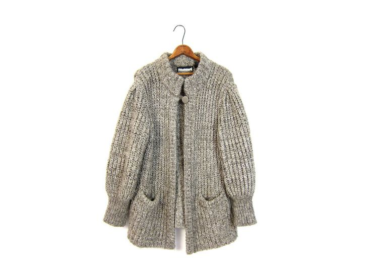 25% OFF SALE vintage oversized chunky knit gray sweater coat 80s grey thick blanket cocoon slouchy cardigan sweater Pockets Medium