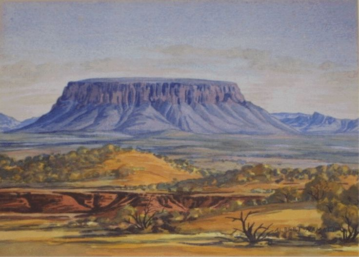 Australie centrale, Albert Namatjira - Faites le tour du monde en peintures avec Boite A Voyages http://boiteavoyages.wordpress.com/2013/01/20/le-tour-du-monde-en-peintures/