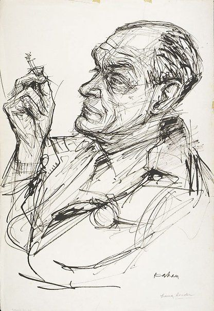 Louis Kahan : Title Frank Hinder : reed pen and black ink