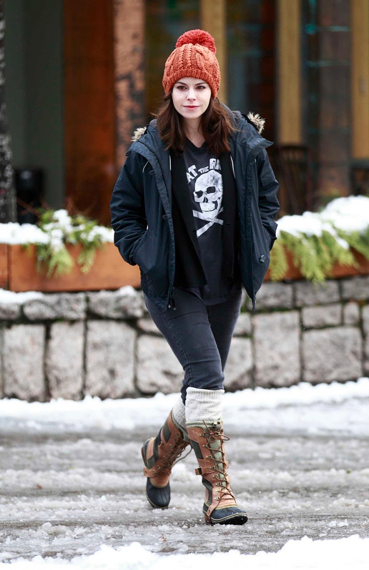 Emily Hampshire wears her SOREL boots at the Whistler Film Festival