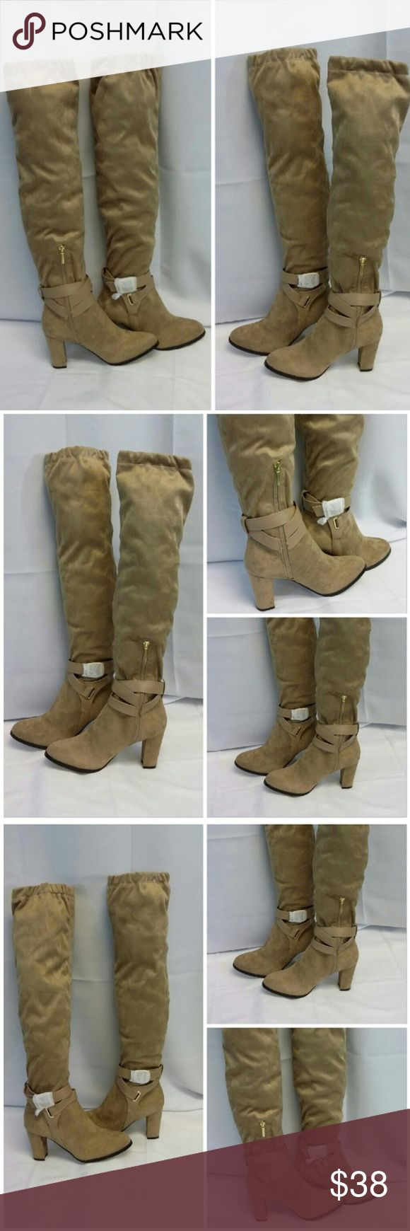 "NWT, In Box, EVE MENDES, Tall Heeled Boots size 7 NEW YORK & CO, EVE MENDES, NEW WITH TAG IN BOX, Taupe, very soft Velvet/Suede like man-made material, 3"" matching covered Heel, Boots NWT in Box, size 7, 3 hole adjustable ankle wrap with gold tone buckle, belt loop back center above heel, 9"" zipper with 1"" gold tone zipper tab, 19 1/2"" from heel to top of boot on calf, 7 1/2"" wide calf laying flat or 15"" circumference, style name Corso. ADD TO A BUNDLE! 30% Automatically Discounted on all…"