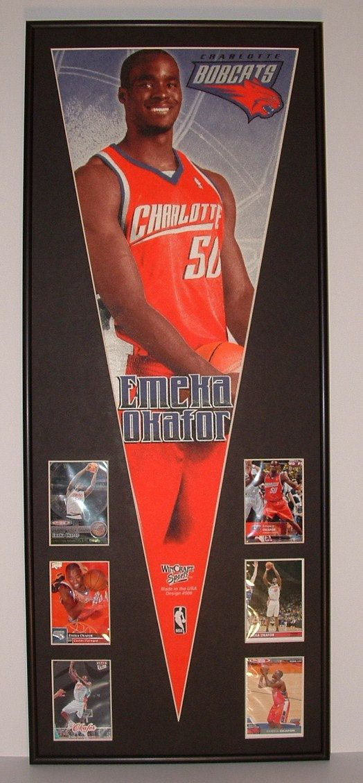 NBA Basketball Charlotte Bobcats Emeka Okafor Pennant & Cards...Custom Framed!!! by FanaticFrames on Etsy