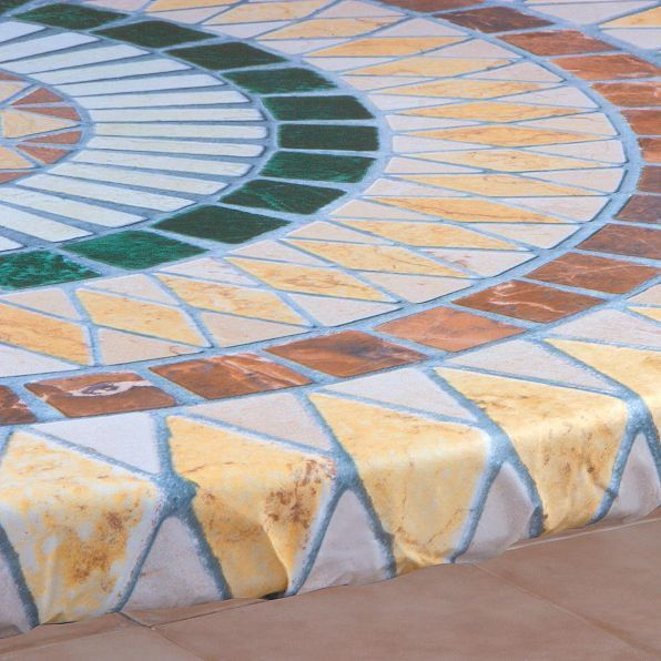 Tuscan Tile Mosaic Round Elasticized Vinyl Table Cover Dining Kitchen 36 44 Dia Na Vinyl Table Covers Custom Table Table Covers