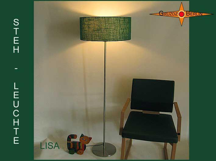 Stehleuchte LISA h 155 cm Stehlampe Jute Grün. Die Stehlampe LISA ist aus grüner Jute/Rupfen mit einer ausgesprochenen schönen Lichtwirkung. Natürliches, warmes Licht.