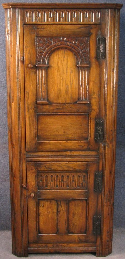 Jacobean Style Tall Carved Oak Corner Cabinet / Cupboard  #JacobeanStyle #CornerCabinetCupboard