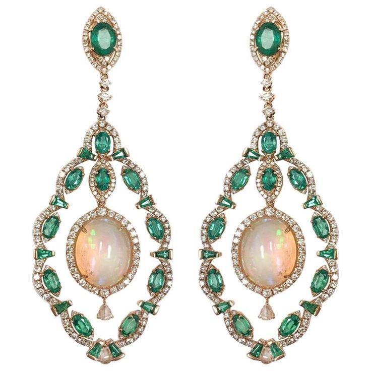 Stephanie Kantis Diamond Set With Emerald And Ethiopian Opal Drop Earrings