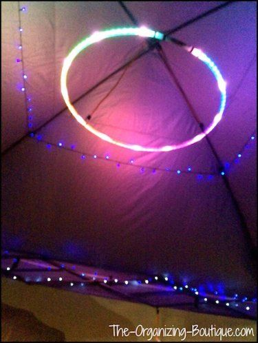 Camping Tricks: 3 New Uses For Old Things - #1. LED Hula Hoop As A Canopy Light   The-Organizing-Boutique.com