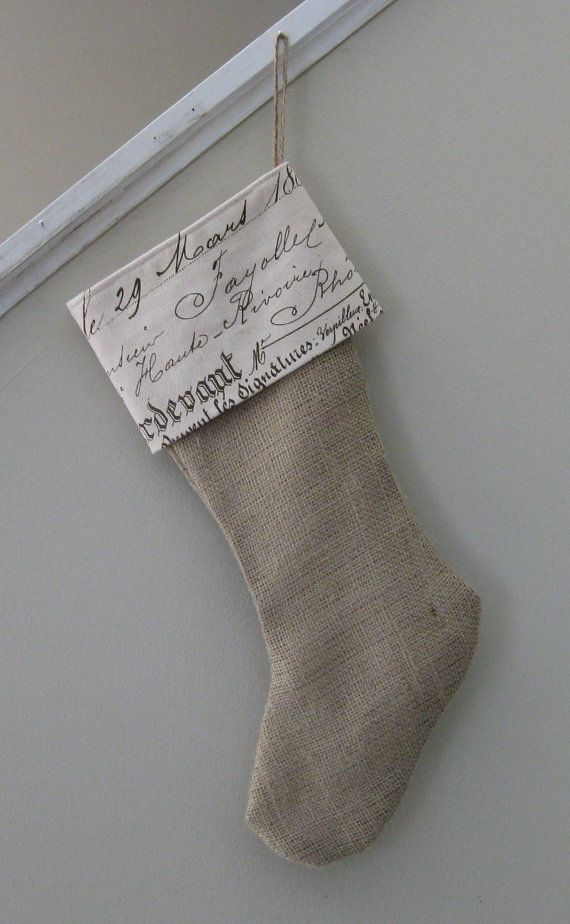 burlap and skript stocking