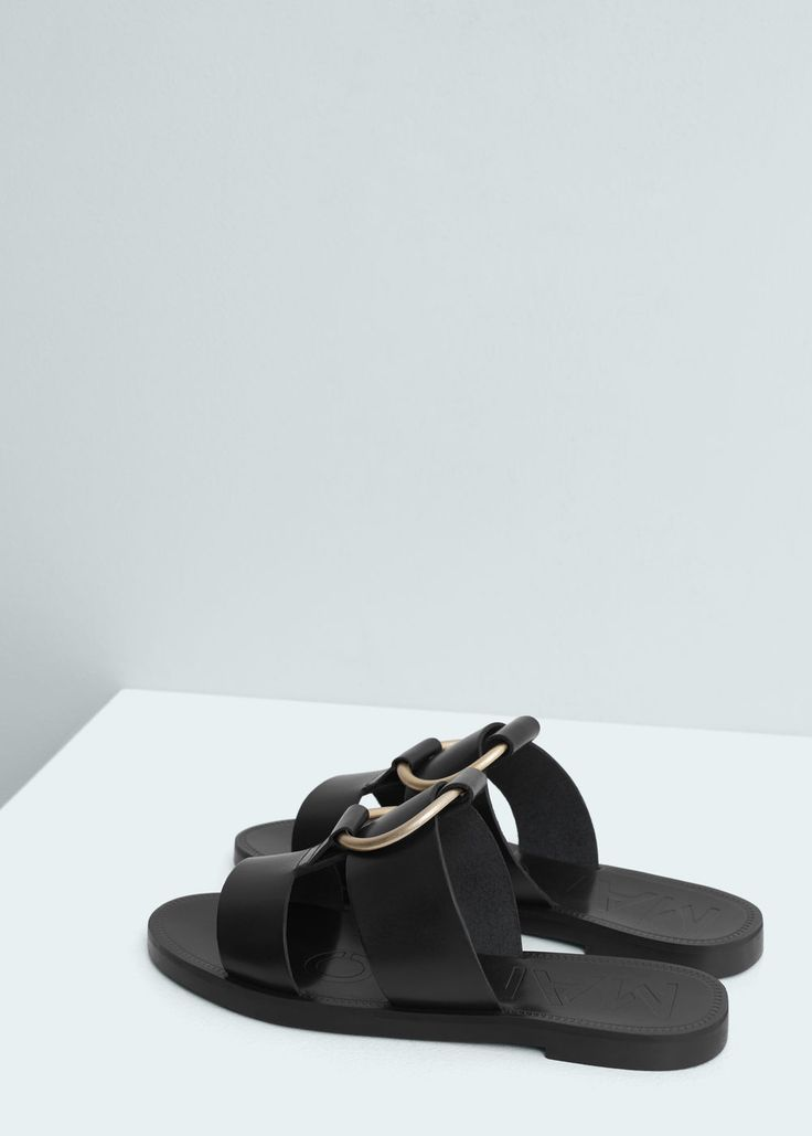 Appliqué leather sandals | MANGO